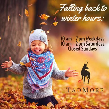 Times are changing and so is the weather. Tad More Tailoring will be falling back to winter hours but our website www.tmtailor.com is always open
