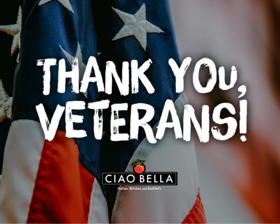 Thank you, veterans! For all you do and have done. Get a complimentary bottle of wine with your curbside order tonight! Just tell them the branch you served and what kind of wine you want! Thank you for your service. Cin, cin! 815-654-9900 • ciaobellaitaliankitchen.com#veteransday2020