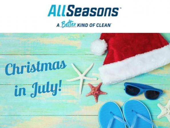All Seasons First Christmas in July Event!Get your carpets cleaned now through July 31st, 2021 and enter for a chance to win free carpet cleaning in December!Every residential appointment booked in July will also receive a coupon for 20% off in December, its a win win!Call today to book an appointment: (815) 399-8690