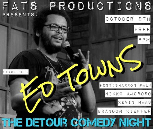 This Saturday !!!The Detour Comedy NightReturns !!! Saturday, October 9th, 2021#FREEThe Show starts at 8pmSuggested to get there Early for Primo SeatingHost: Sharron PalmGuest Feature: Nikko Amoroso & Kevin HaasMain Feature: Brandon KiefferHeadliner: Ed Townshttps://www.facebook.com/events/290616965843858